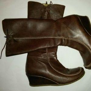 Eric Michael US Leather Boots Brown Wedge Fleece 6